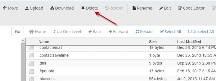 كيفية حذف ملف قديم من لوحة تحكم السى بانل  (Cpanel) 3