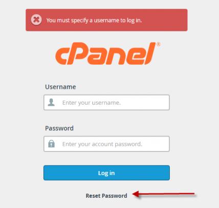 فقد كلمة المرور لوحة تحكم (Cpanel) 1